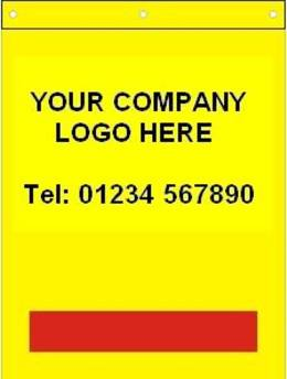 Tail Lift Flags with your own Logo & Telephone No. Prices from £2.03ea!
